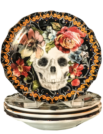 SKULL AND FLOWER PLATES (SET OF 4)