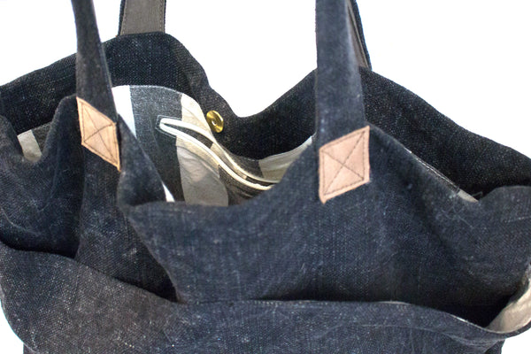 WASHED LINEN CHARCOAL TOTE BAG
