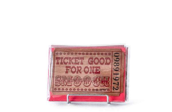 WOODEN TICKET GREETING CARD