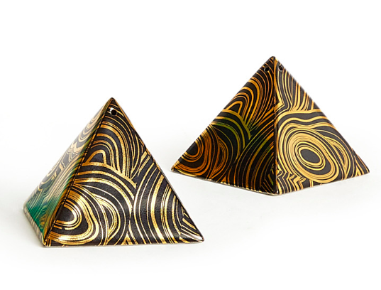 GILDED MALACHITE PYRAMID SHAKERS