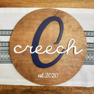 Round Wooden Name Sign