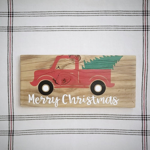 Red Truck reclaimed wood sign