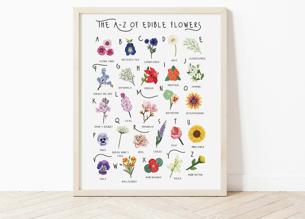 A-Z of Edible Flowers Poster