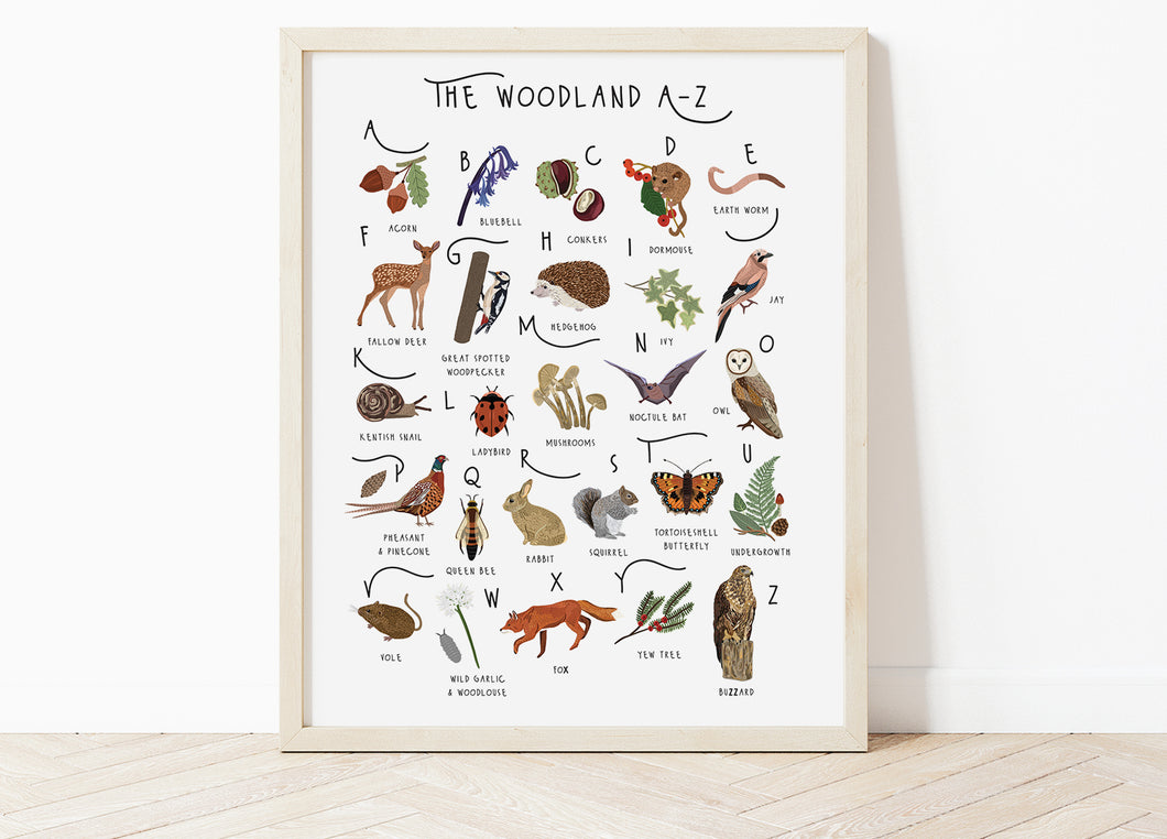 A-Z Woodland Poster