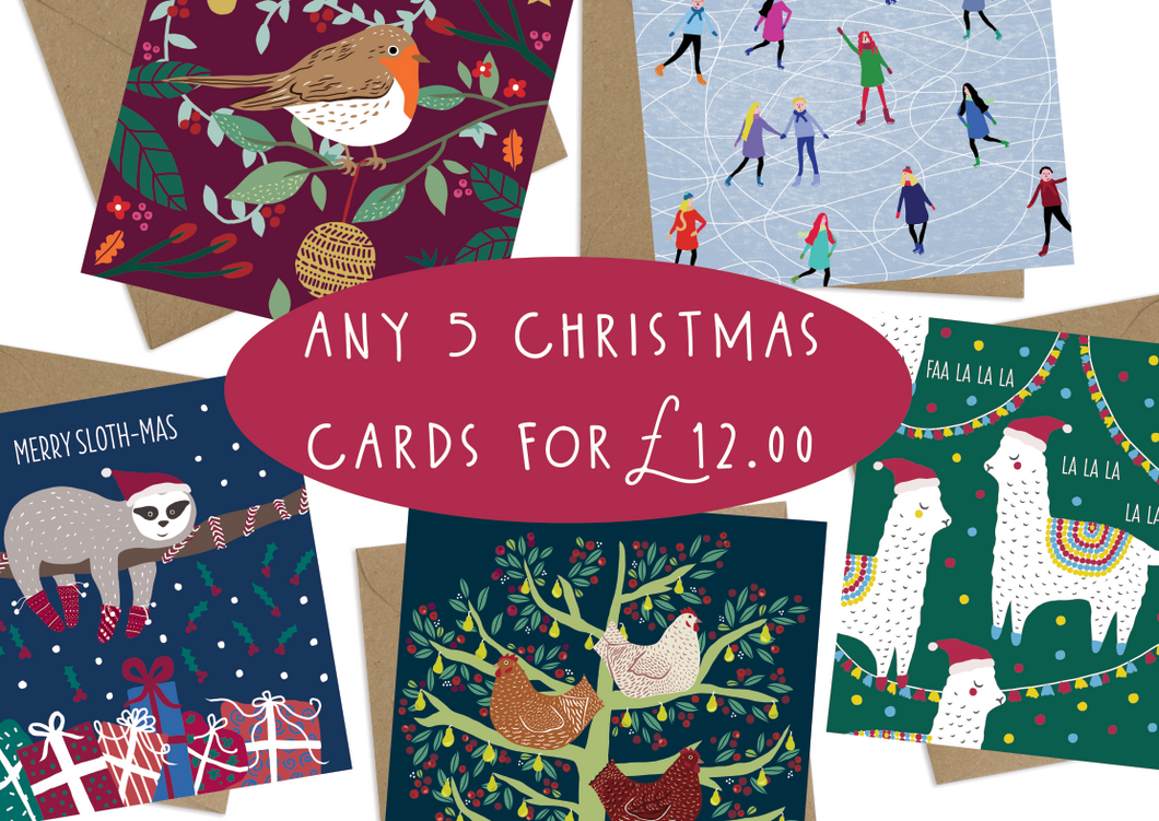 Mix and Match Any 5 Christmas Cards