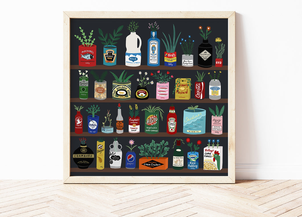 Kitchen food Packaging & Plants Print