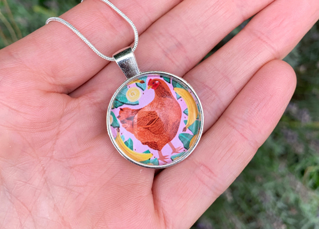 Chicken and Bananas Pendant Necklace