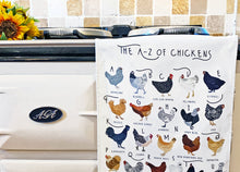Load image into Gallery viewer, A-Z of Chickens Tea Towel