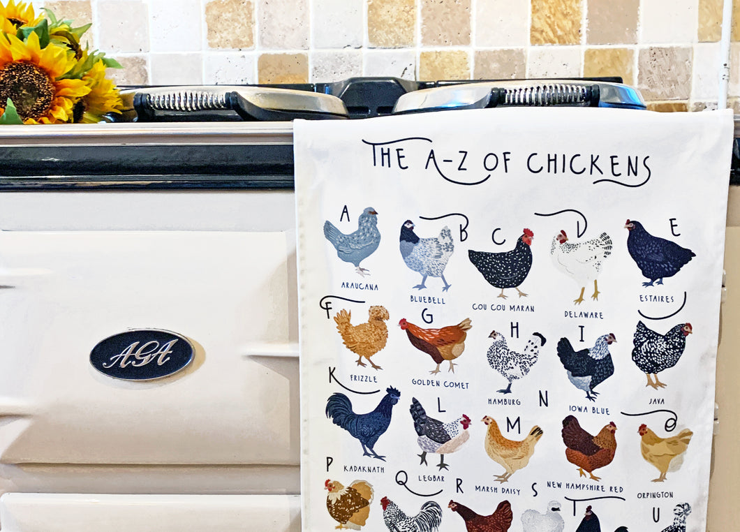 A-Z of Chickens Tea Towel