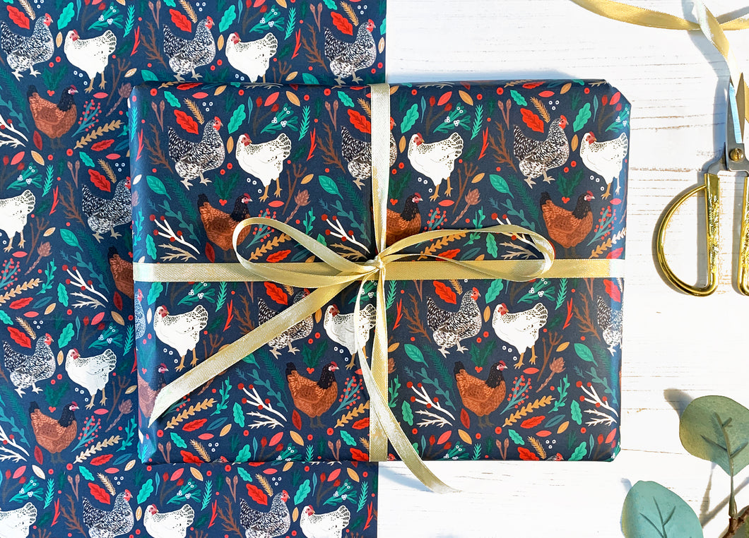 Christmas Chickens Wrapping Paper