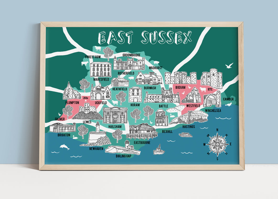 East Sussex Illustrated Map