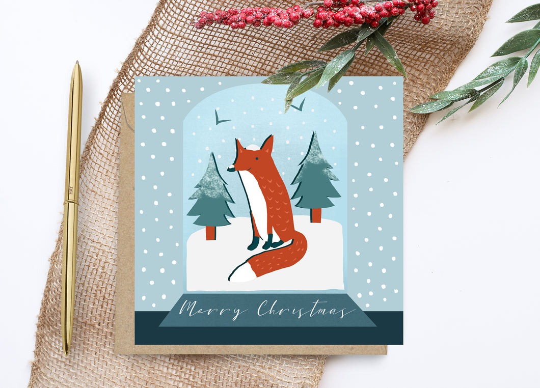 Fox in a Snowglobe Christmas Card