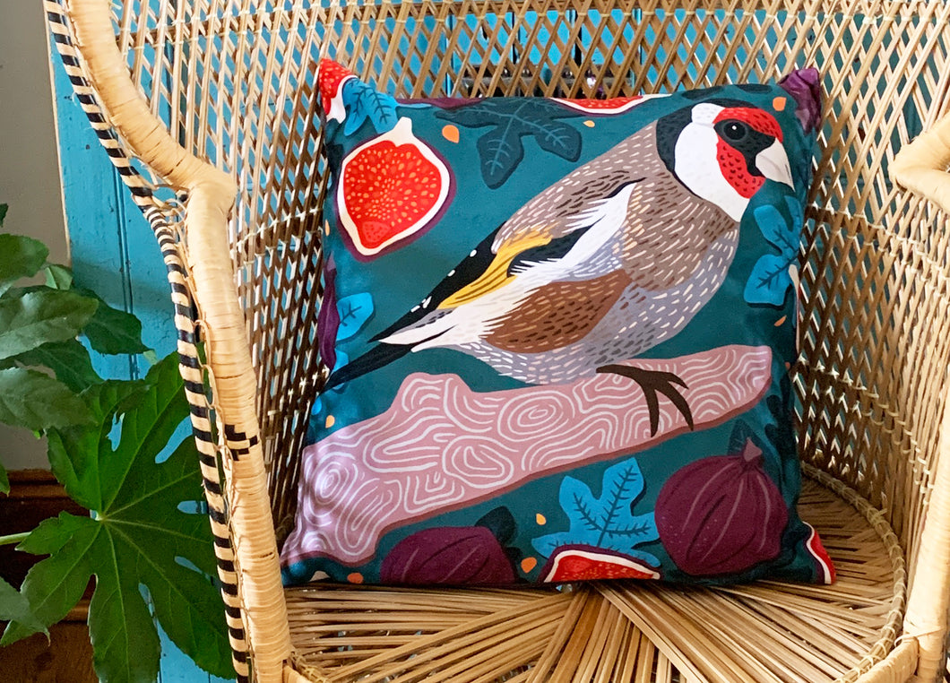 Goldfinch and Figs Cushion