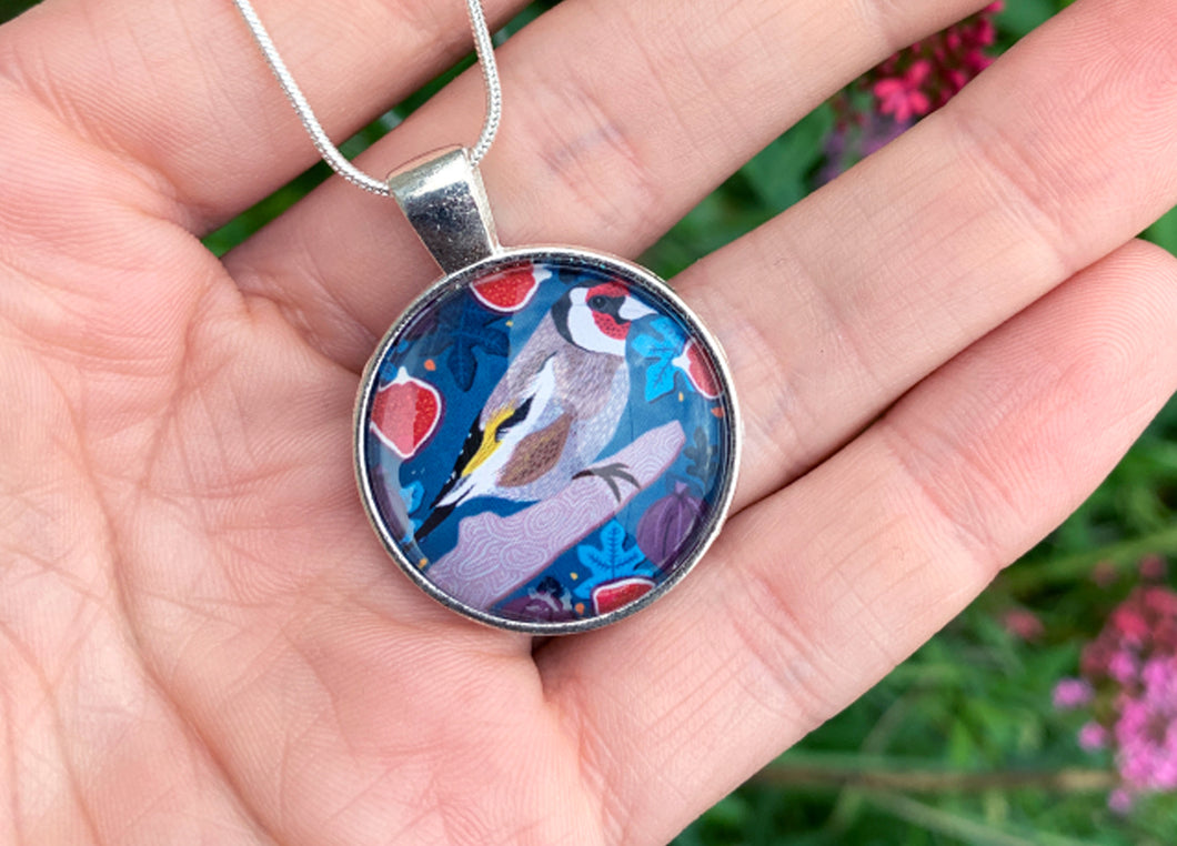 Goldfinch and Figs Pendant Necklace