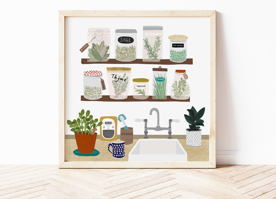 Kitchen Herbs and Spices Print
