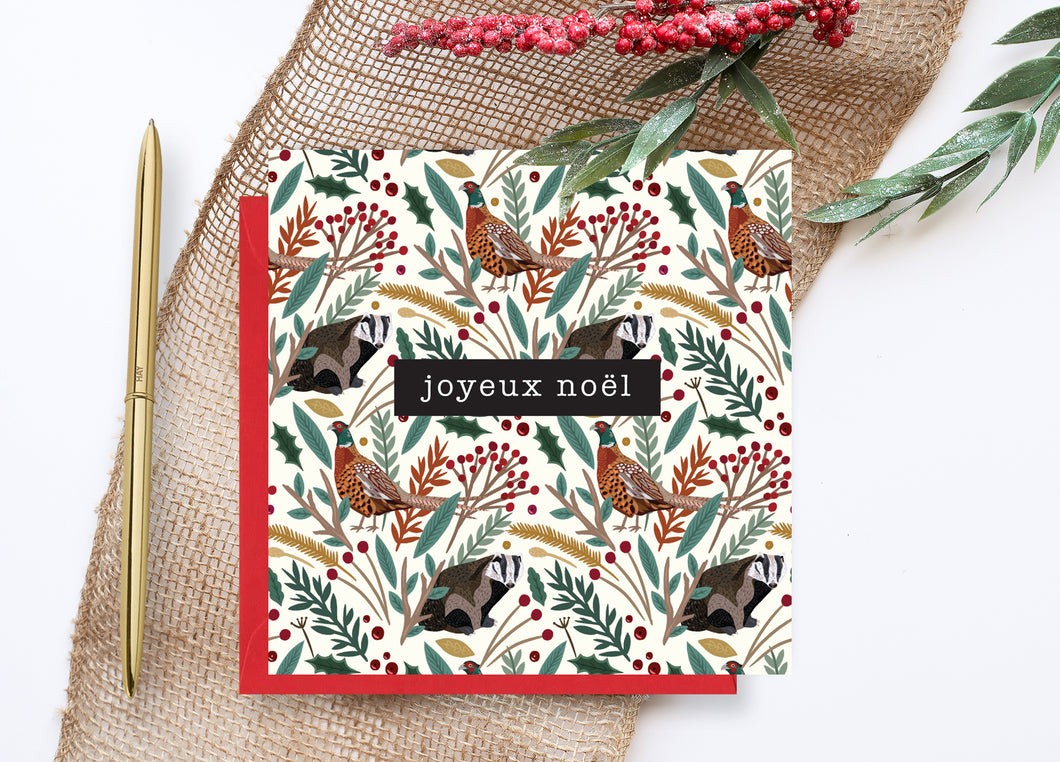 Pheasant and Badger Christmas Card