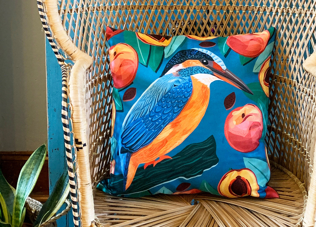 Kingfisher and Peaches Cushion