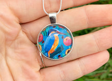 Load image into Gallery viewer, Kingfisher and Peaches Pendant Necklace