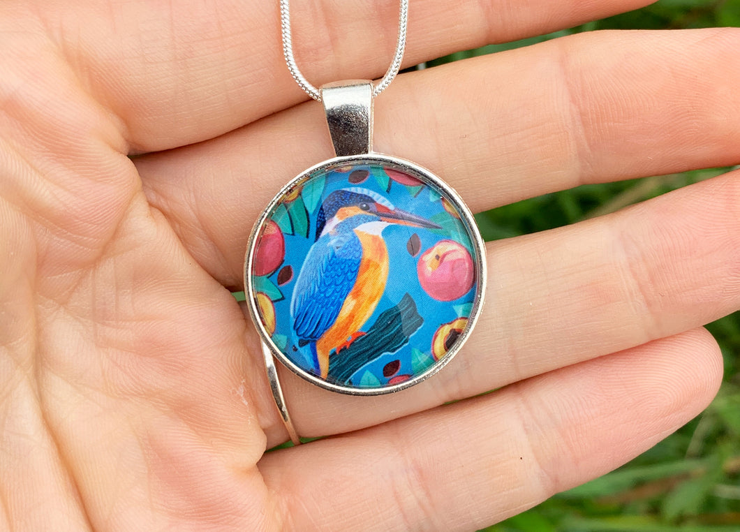 Kingfisher and Peaches Pendant Necklace