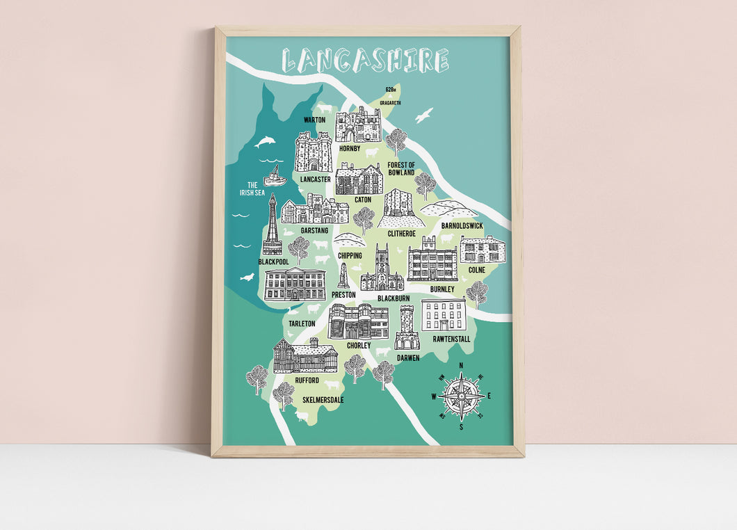 Lancashire Illustrated Map