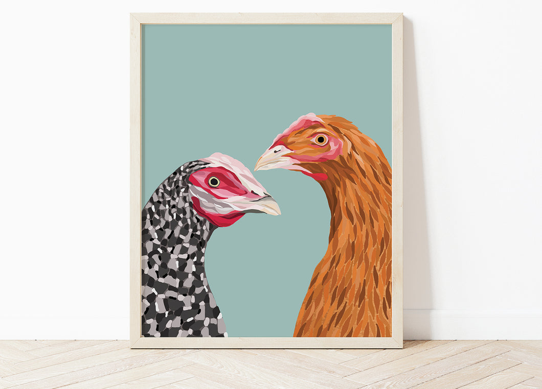 Colourful Chickens Print
