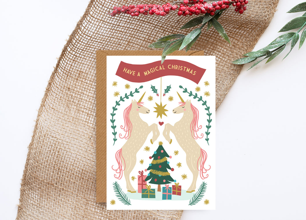 Magical Unicorn Foiled Christmas Card