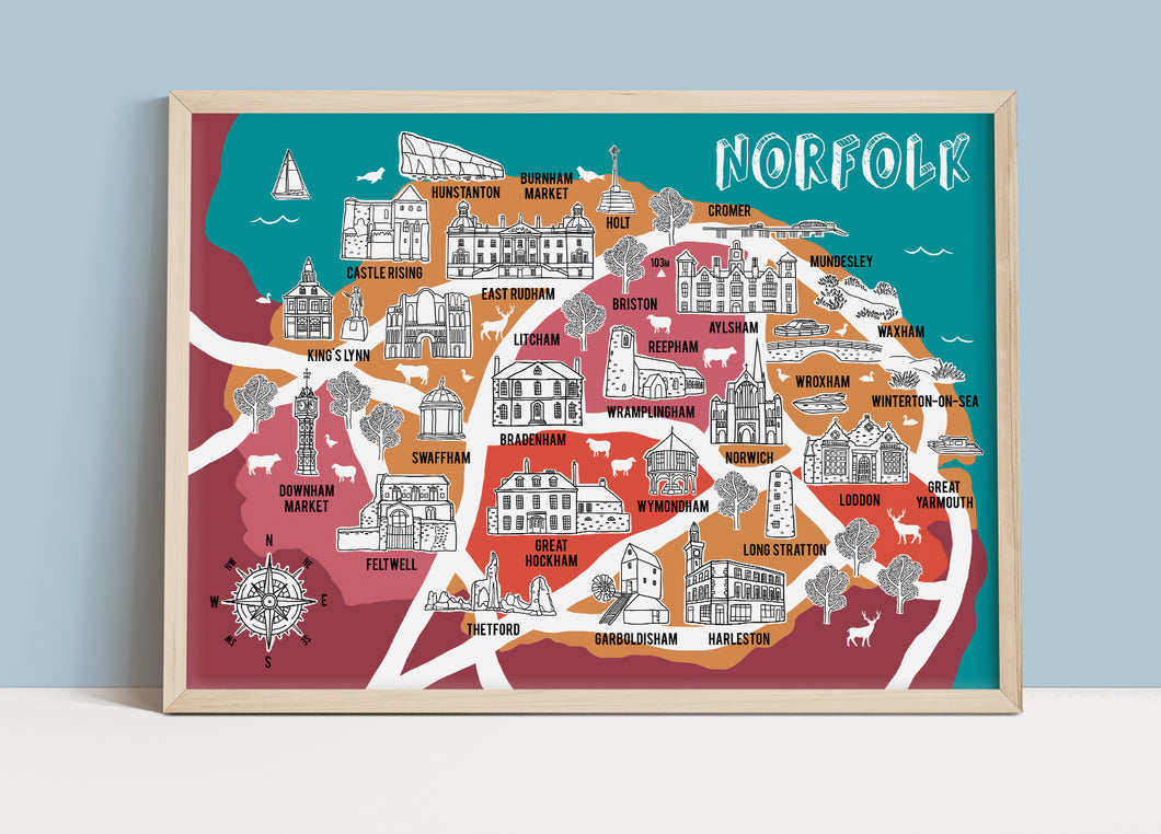 Norfolk Illustrated Map