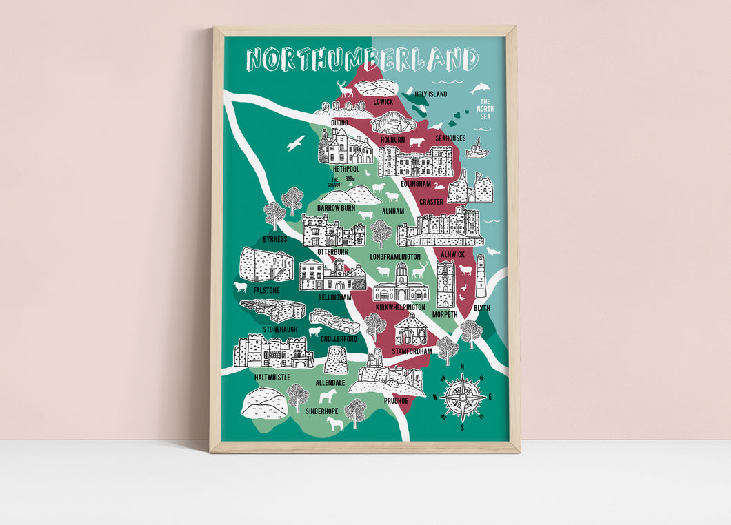 Northumberland Illustrated Map