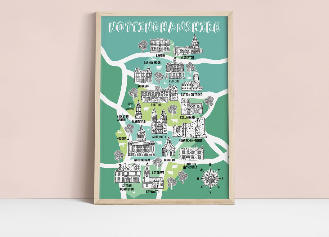 Nottinghamshire Illustrated Map