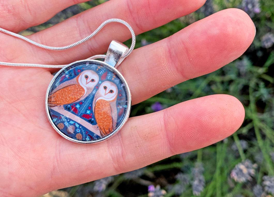 Folk Owl Pendant Necklace