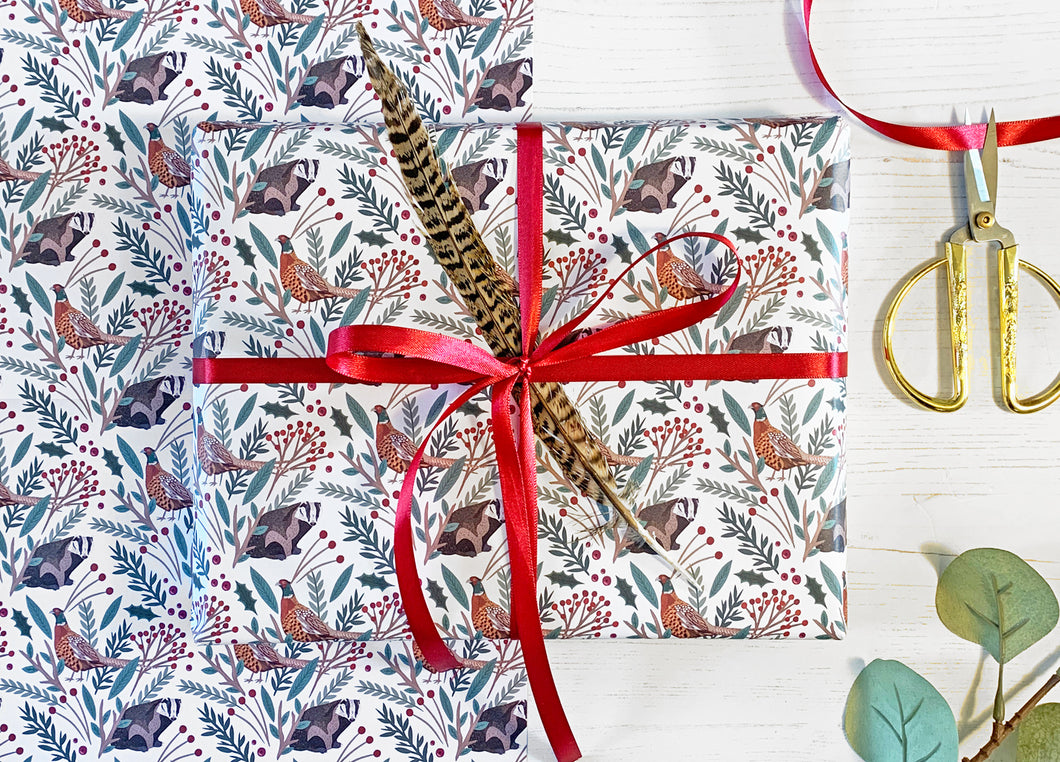 Christmas Pheasant Wrapping Paper