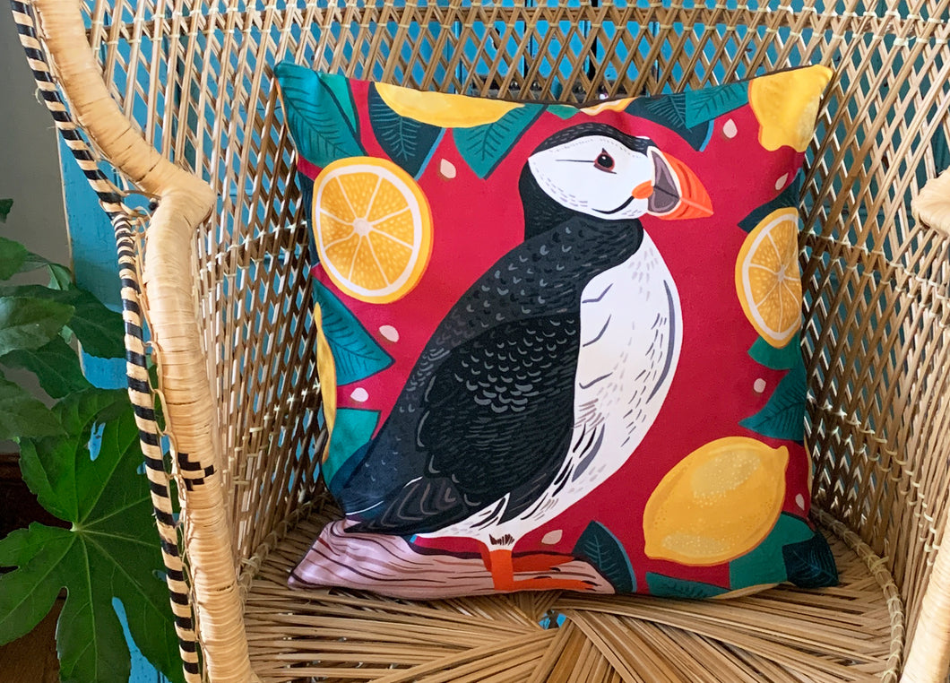 Puffin and Lemons Cushion