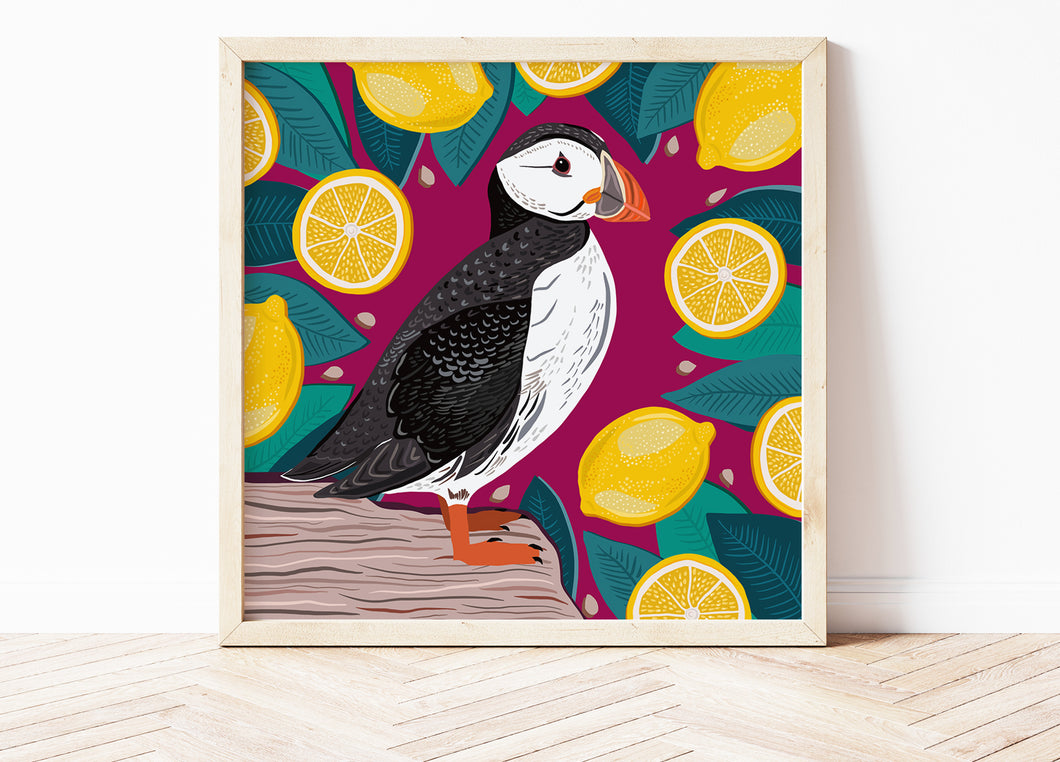 Puffin and Lemons Print