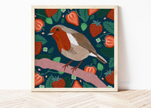 Load image into Gallery viewer, Robin and Strawberries Print