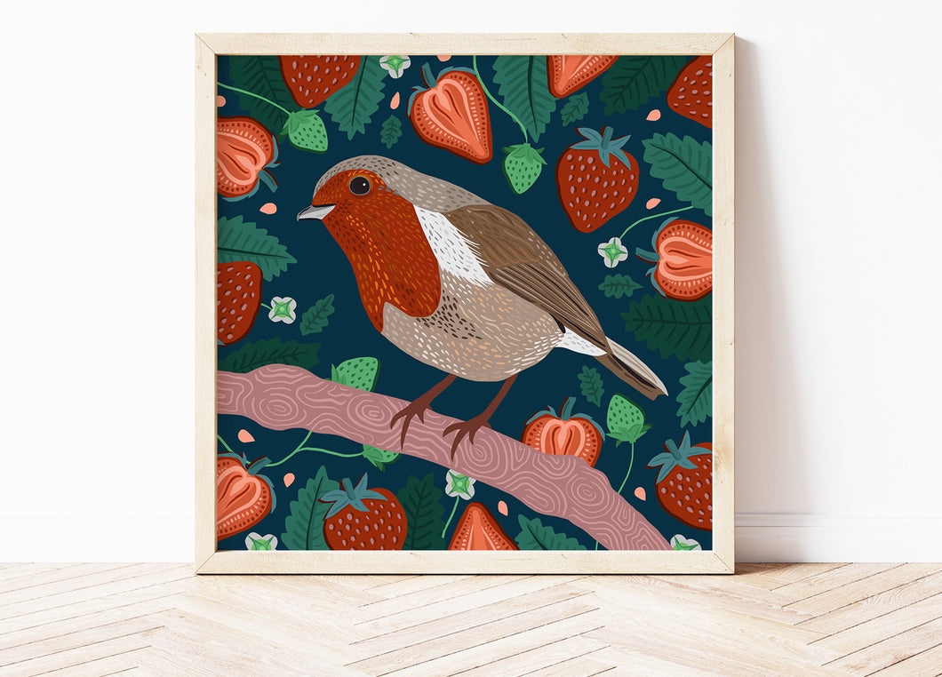 Robin and Strawberries Print