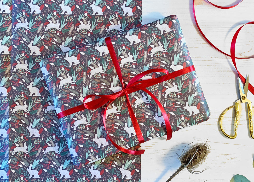 Christmas Snow Hare Wrapping Paper