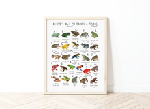 Load image into Gallery viewer, A-Z of Frogs Poster