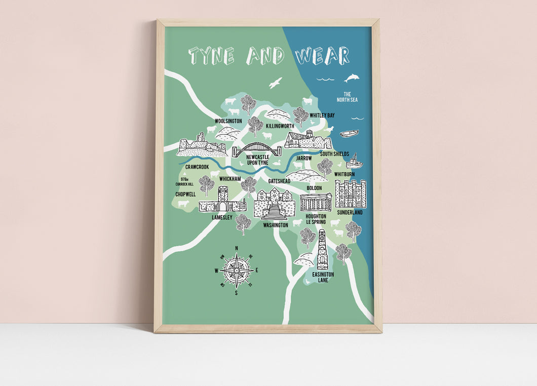 Tyne and Wear Illustrated Map
