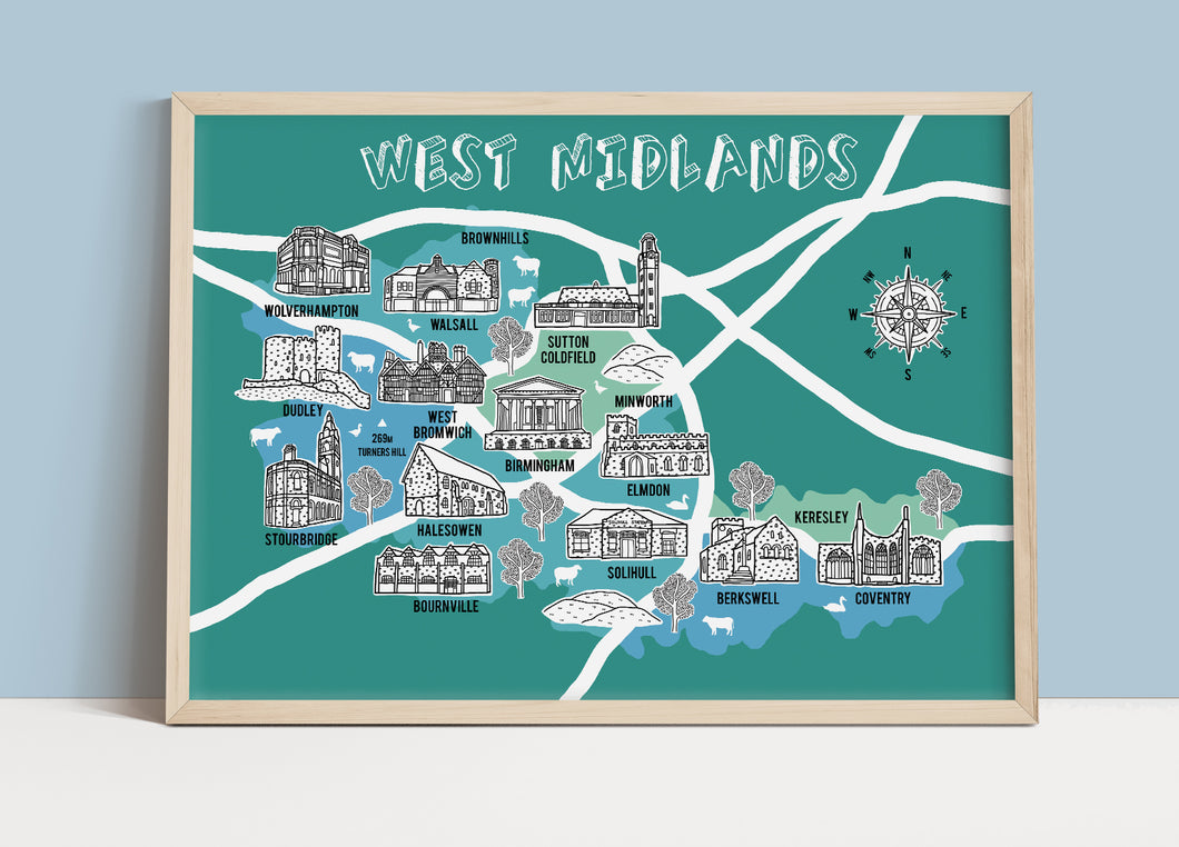 West Midlands Illustrated Map