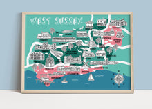Load image into Gallery viewer, West Sussex Illustrated Map