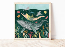 Load image into Gallery viewer, Whale and Swimmer Print