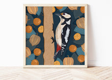 Load image into Gallery viewer, Woodpecker and Physalis Print