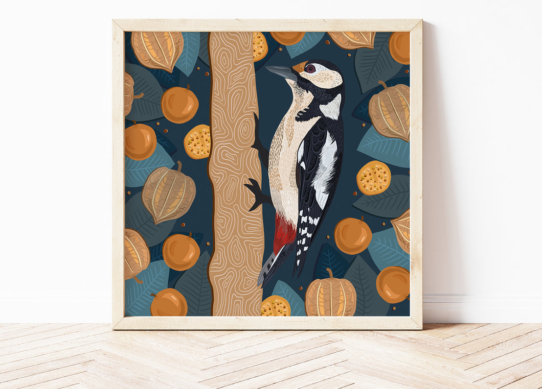 Woodpecker and Physalis Print