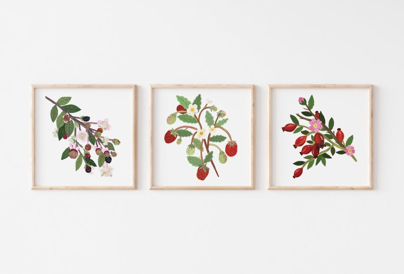 British Hedgerow Print Trio