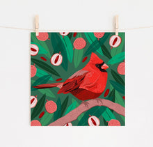 Load image into Gallery viewer, Cardinal and Lychees Print