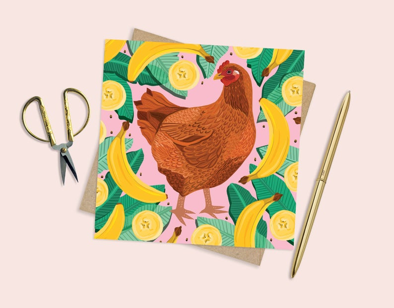Chicken and Bananas Card