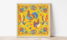 Load image into Gallery viewer, Folk Chickens Print