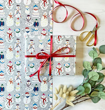Load image into Gallery viewer, Christmas Snowmen Wrapping Paper