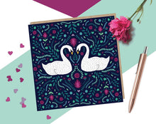 Load image into Gallery viewer, Folk Swans Card