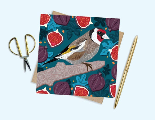 Goldfinch and Figs Card